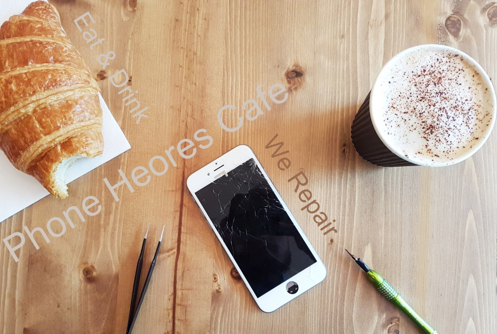 iPhone repair with coffee